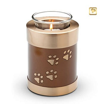 Paw Print Tea Light Urn - Gold